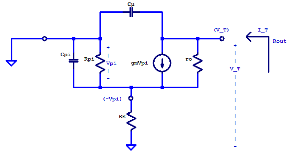 Small-signal schematic of an emitter-degenerated common-emitter amplifier's output impedance.