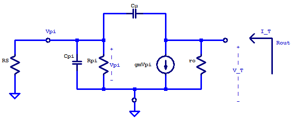 Small-signal model of a non emitter-degenerated common-emitter amplifier's output impedance.