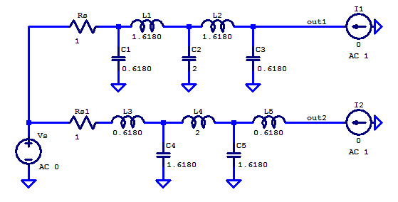 Spice simulation schematic for output impedance of a 5th order butterworth filter.