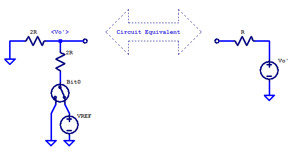 Norton equivalent circuit of 1st bit in an R2R DAC