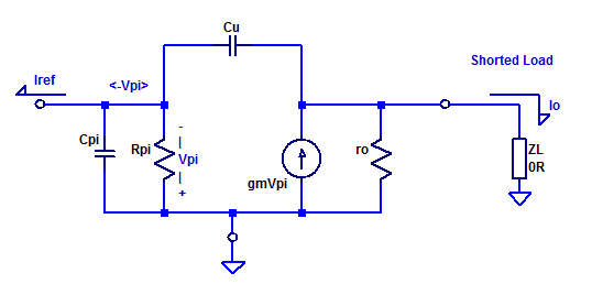 Hybrid-Pi small-signal model of a PNP series pass element.