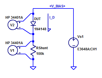 Schematic of test setup for low current IV sweep of 1N4148 Diode.