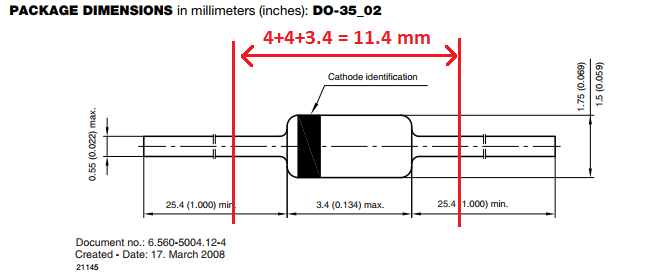 1N4148 Diode Package Dimensions.