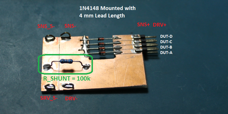 Test-jig for forward IV curve of a 1N4148 Diode.