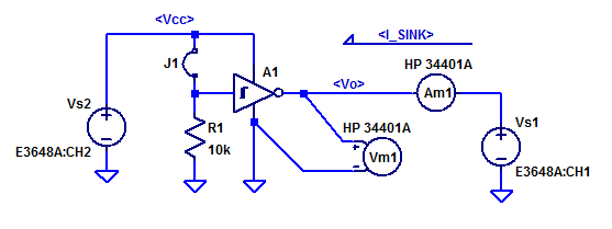 CD40106 Schmitt-Trigger Test Schematic for Output Drive Characteristics.