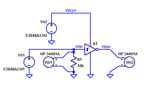 CD40106 Schmitt-Trigger Measurement of Input Threshold Voltages.