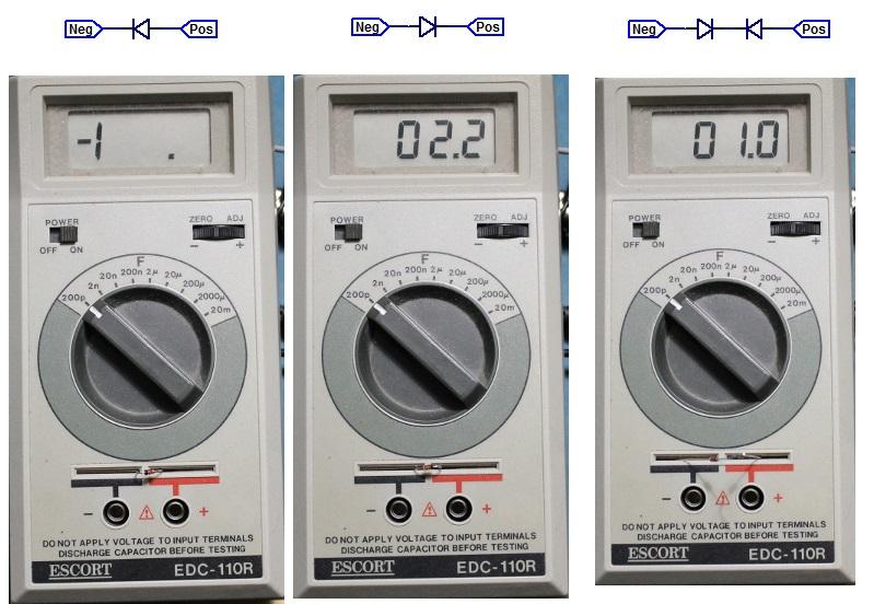 Escort Capacitance Meter Measuring Diode Capacitance.