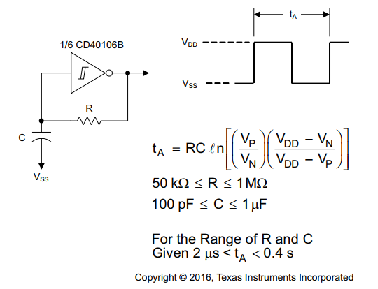 Schematic and Equation of CD40106 Schmitt-Trigger Oscillator.