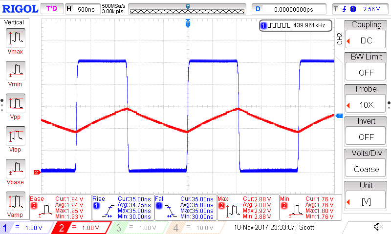 CD40106 Oscillator Oscilloscope Capture.