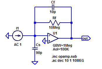 LT-Spice schematic of a prototype trans-impeadance amplifier.